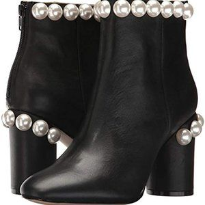 NWT Katy Perry Black Leather booties with Pearls